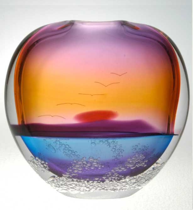 Island Setting Sun Vase by Blodgett Glass | Rendezvous Gallery
