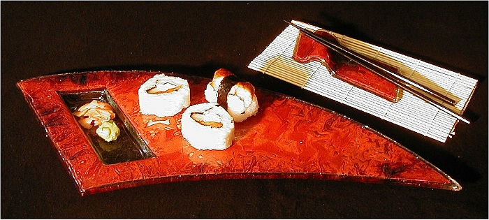 Charlton Glass: Curved Sushi Plate w/Chopsticks & Rest | Rendezvous Gallery