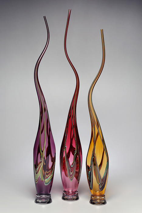 Victor Chiarizia: Swan Neck Series - Amethyst, Merlot, Strega, Set of Three | Rendezvous Gallery