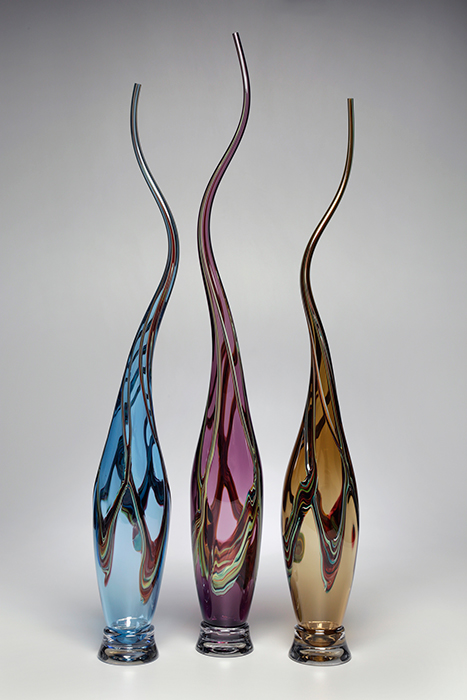 Victor Chiarizia: Swan Neck Series - Aqua, Amethyst, Whiskey, Set of Three | Rendezvous Gallery