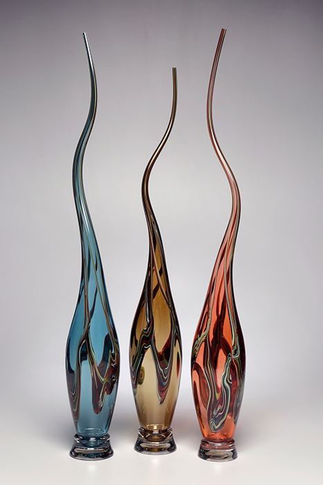 Victor Chiarizia: Swan Neck Series - Steel, Whiskey, Tangerine, Set of Three | Rendezvous Gallery