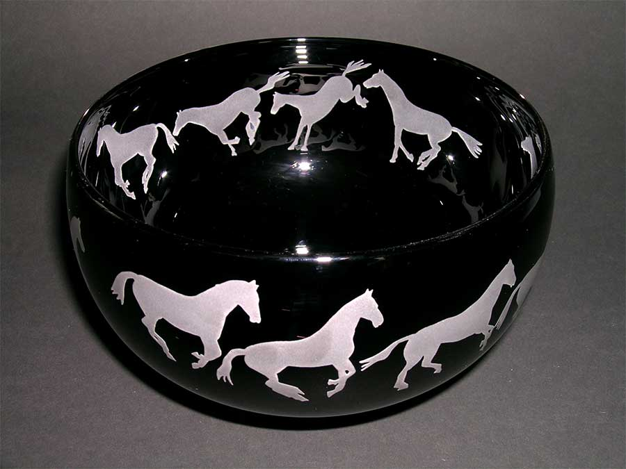 Correia Art Glass: Horses Bowl | Rendezvous Gallery