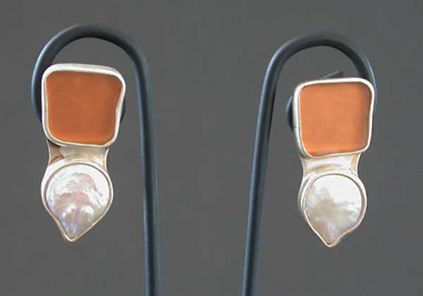 Sonja Grondstra: Beach Glass & Freshwater Pearl Earrings | Rendezvous Gallery