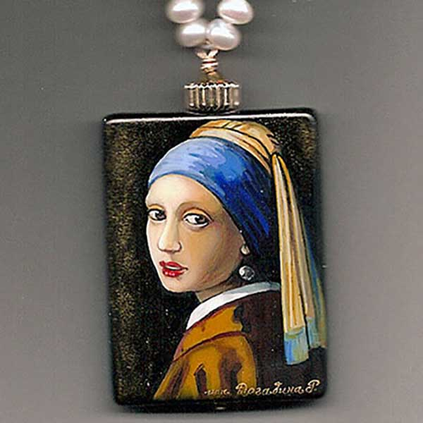 Bess Heitner: Girl w/Pearl Earring Handpainted Necklace | Rendezvous Gallery