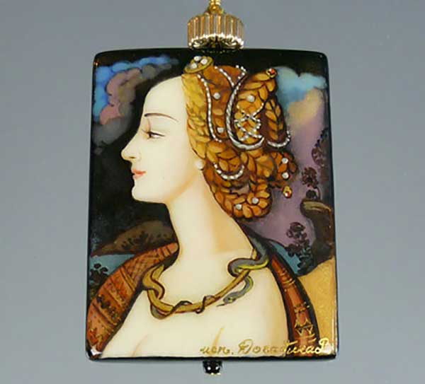 Bess Heitner: Renaissance Lady Handpainted Necklace | Rendezvous Gallery