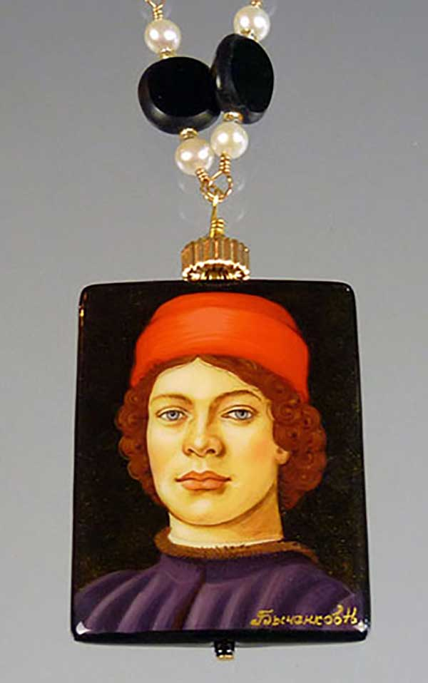 Bess Heitner: Man in Red Hat Handpainted Necklace | Rendezvous Gallery