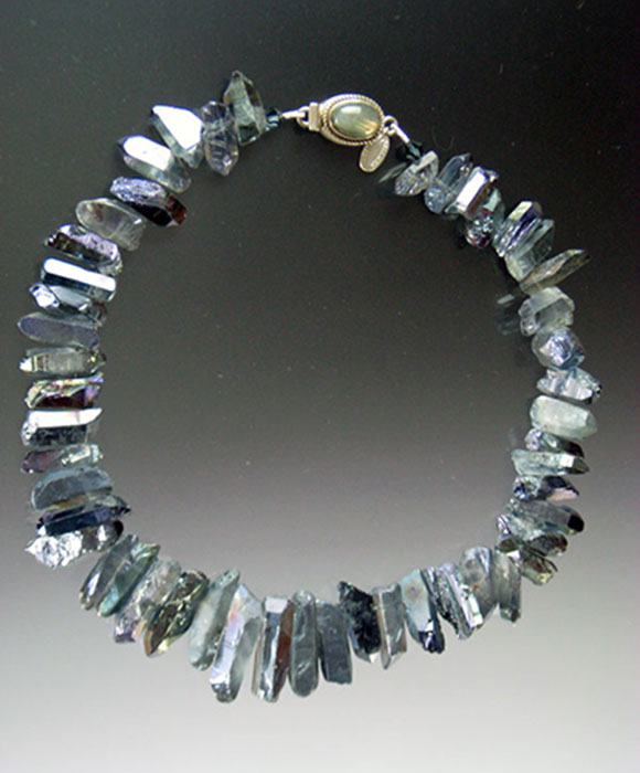 Bess Heitner: Bess Heitner: Irridescent Quartz Necklace (dark blue) | Rendezvous Gallery