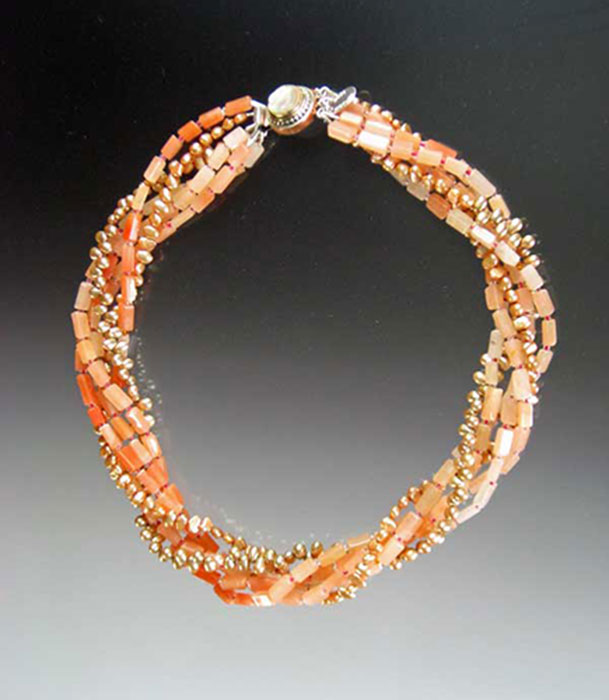 Bess Heitner: Bess Heitner: Orange Aventurine Torsade Necklace | Rendezvous Gallery