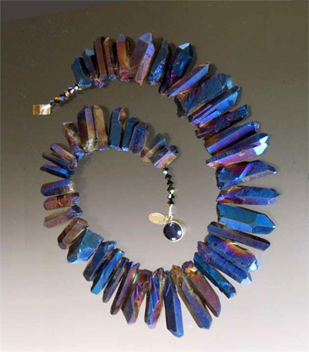 Bess Heitner: Bess Heitner: Iridescent Quartz Necklace (plum, navy, brown) | Rendezvous Gallery