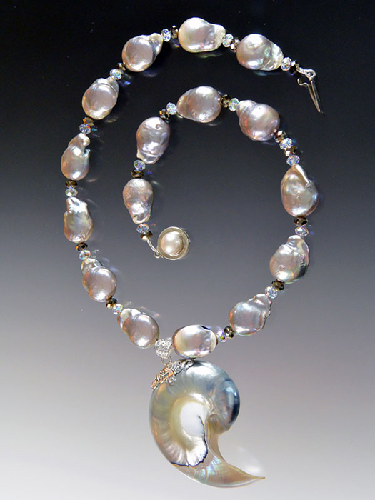 Bess Heitner: Baroque Peacock Pearl & Nautilus Shell Necklace | Rendezvous Gallery