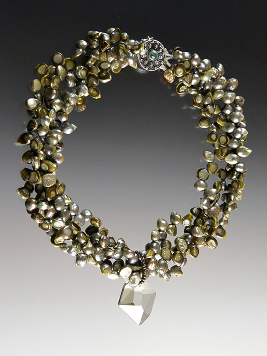 Bess Heitner: Freshwater Pearl & Swarovski Crystal Necklace | Rendezvous Gallery