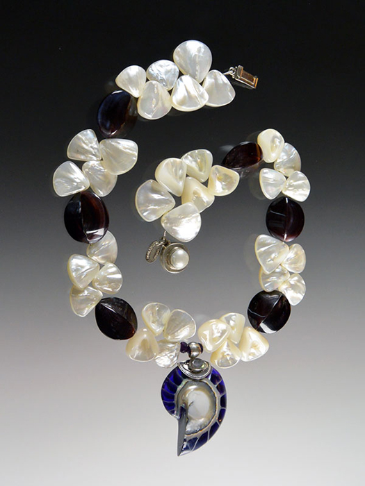 Bess Heitner: Bess Heitner: Mother of Pearl, Oyster Shell & Nautilus Shell Necklace | Rendezvous Gallery