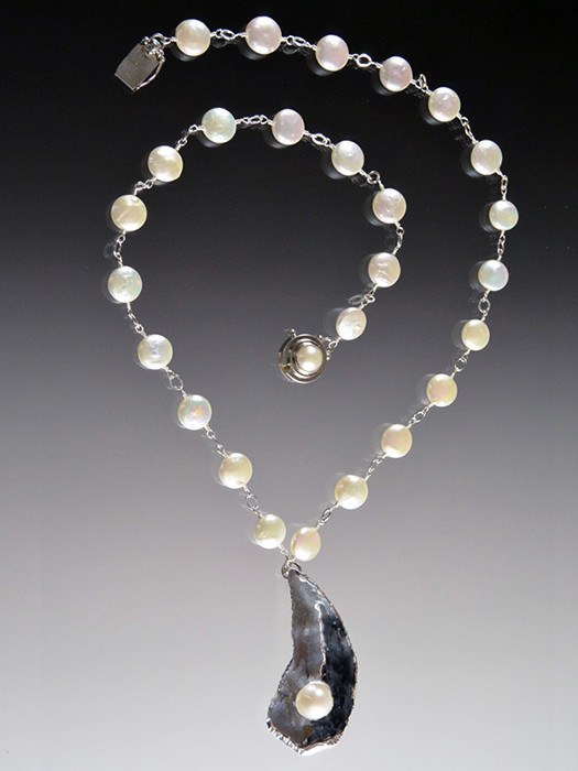Bess Heitner: AAA Freshwater Pearl, Sterling & Oyster Pearl Necklace | Rendezvous Gallery