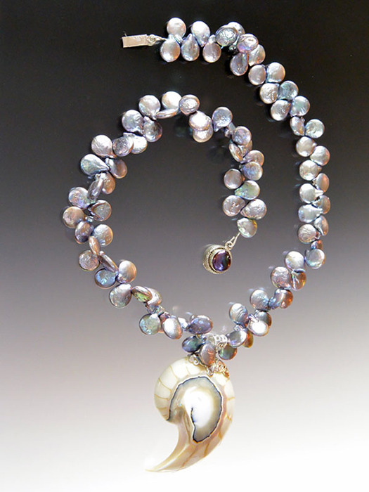 Bess Heitner: Freshwater Pearl & Nautilus Shell Necklace | Rendezvous Gallery