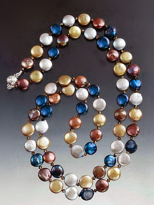 Bess Heitner: Multi-Color Coin Pearl & Swarovski Crystal Necklace | Rendezvous Gallery