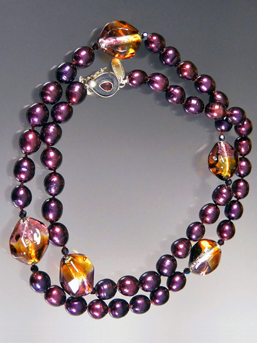 Bess Heitner: Freshwater Pearl & Venetian Glass Necklace | Rendezvous Gallery