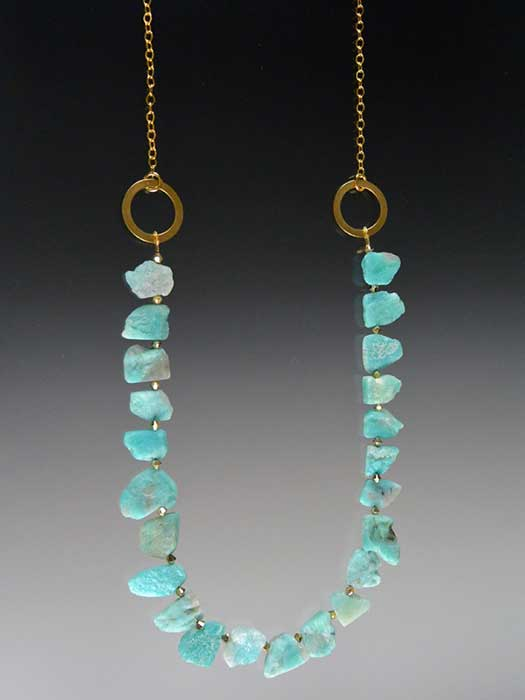 Bess Heitner: Amazonite & Gold Hoop Necklace | Rendezvous Gallery
