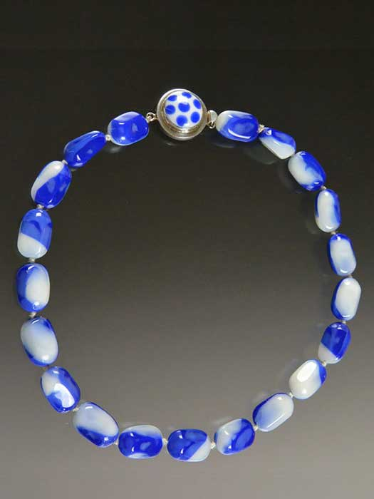 Bess Heitner: Blue & White Czech Glass Necklace | Rendezvous Gallery