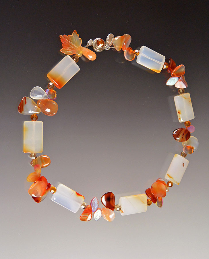 Bess Heitner: Carnelian, Glass, Tourmaline & Fire Agate Necklace | Rendezvous Gallery