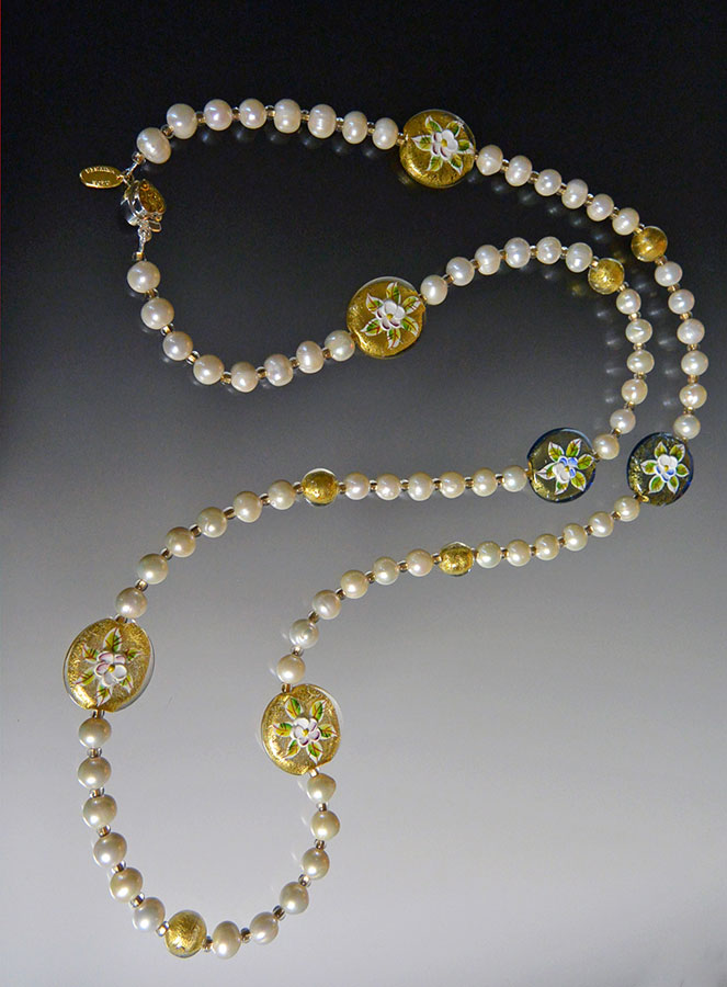 Bess Heitner: AAA Freshwater Pearl & Murano Glass Necklace | Rendezvous Gallery