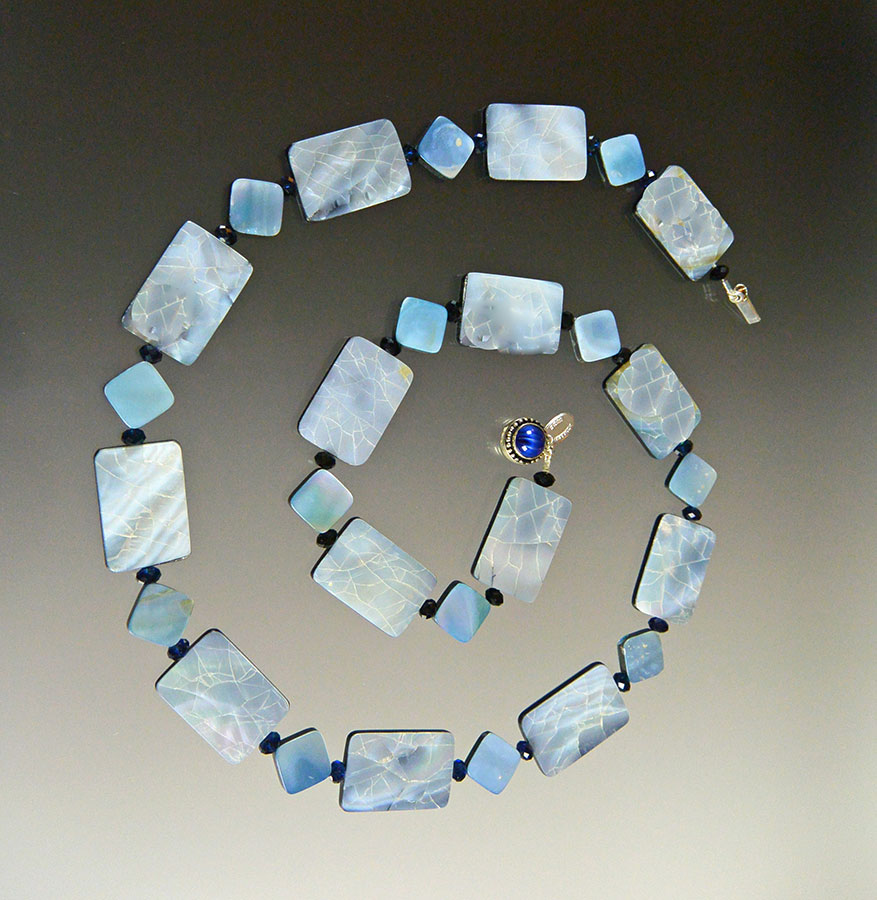 Bess Heitner: Mother of Pearl & Swarovski Crystal Necklace | Rendezvous Gallery