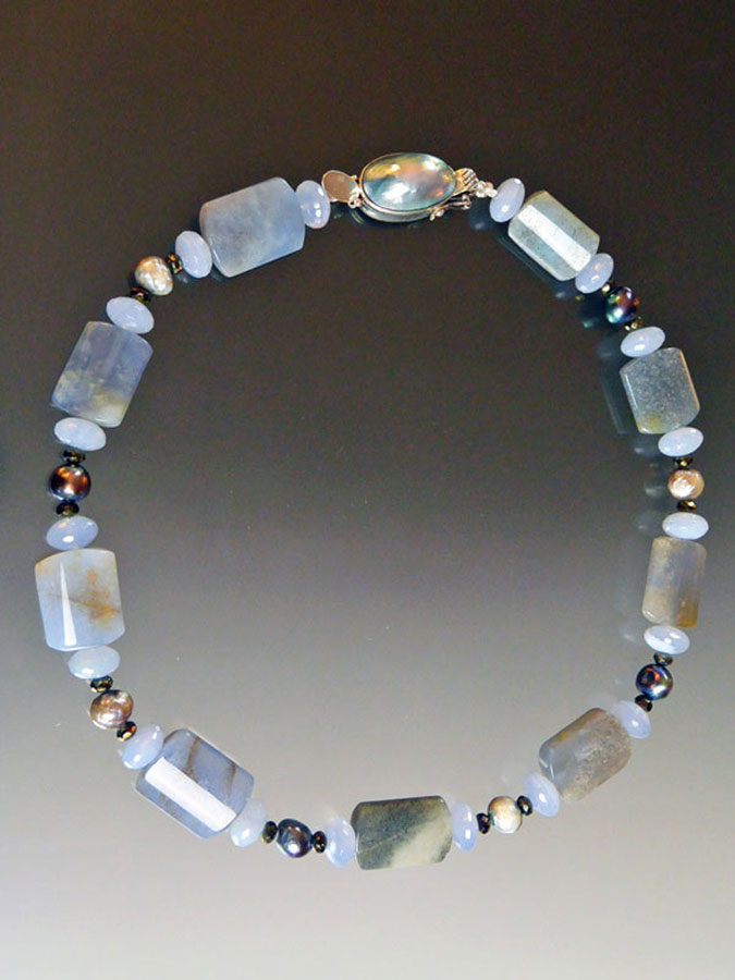 Bess Heitner: Chalcedony, Blue Lace Agate & Pearl Necklace | Rendezvous Gallery