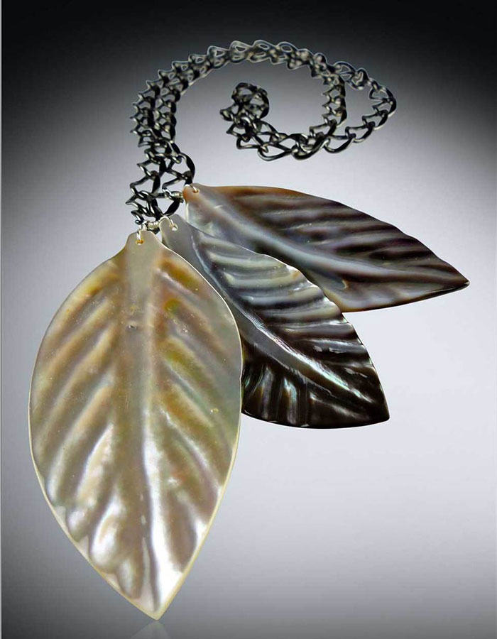 Bess Heitner: Hand Carved Mother of Pearl Necklace | Rendezvous Gallery