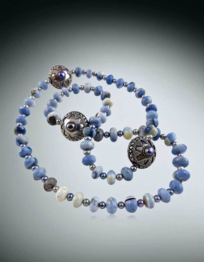 Bess Heitner: Denim Owyhee Opal & Indonesian Sterling Silver Necklace | Rendezvous Gallery