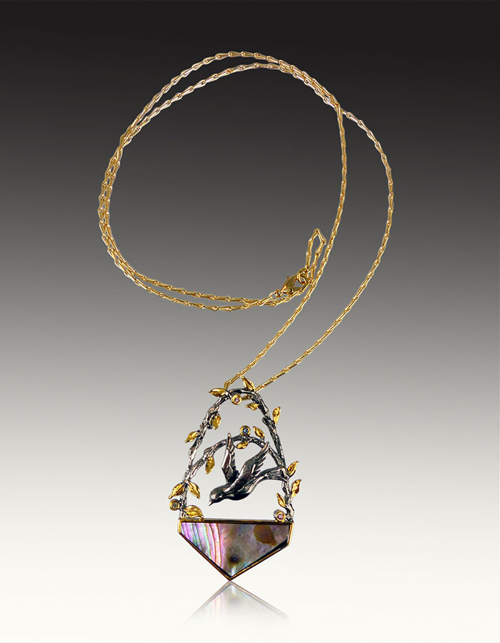 Bess Heitner: Tanzanite, Tourmaline, Yellow Sapphire & Abalone Necklace | Rendezvous Gallery