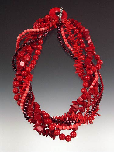 Bess Heitner: Multi-Coral Torsade Necklace | Rendezvous Gallery