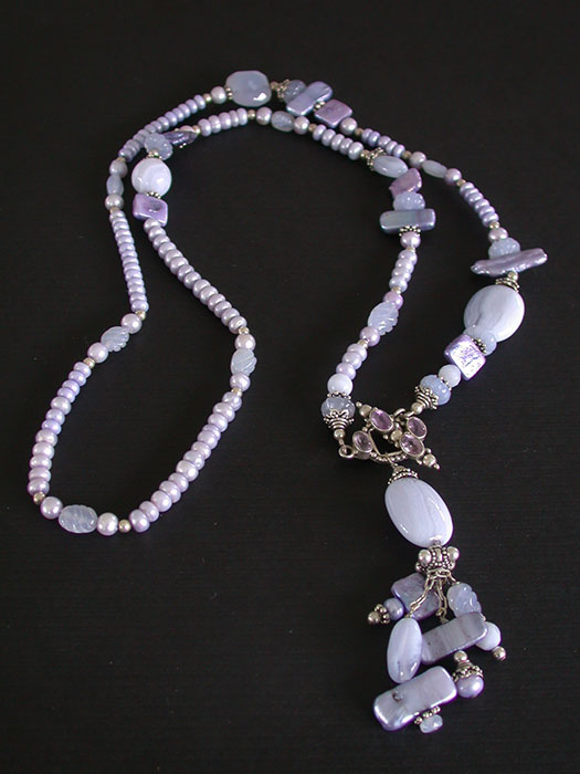 Amy Kahn Russell: Blue Lace Agate, Freshwater Pearl & Chalcedony Necklace | Rendezvous Gallery