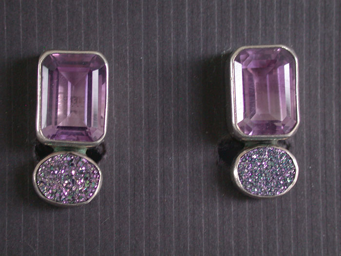 Amy Kahn Russell: Amethyst & Drusy Clip Earrings | Rendezvous Gallery