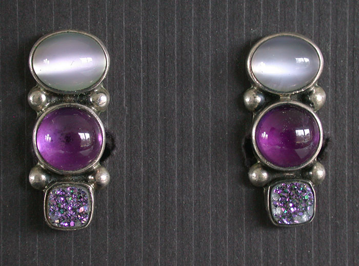 Amy Kahn Russell: Moonstone, Amethyst & Drusy Clip Earrings | Rendezvous Gallery
