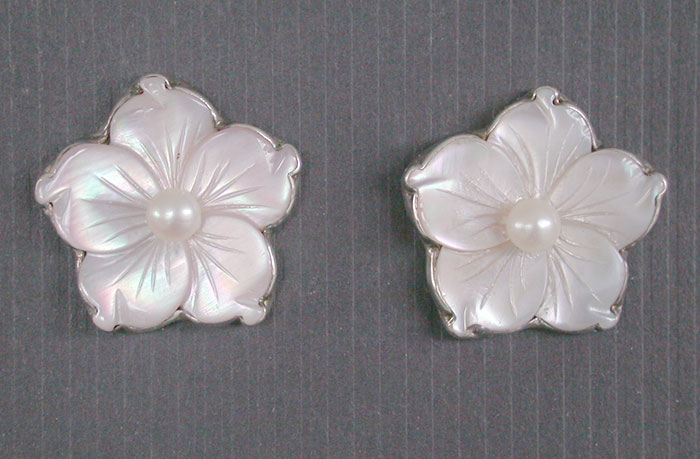 Amy Kahn Russell: Mother of Pearl & Freshwater Pearl Clip Earrings | Rendezvous Gallery