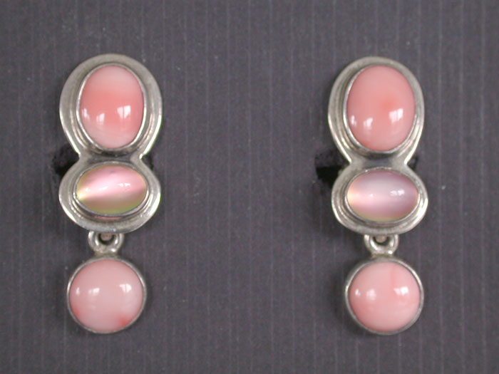Amy Kahn Russell: Coral & Moonstone Clip Earrings | Rendezvous Gallery