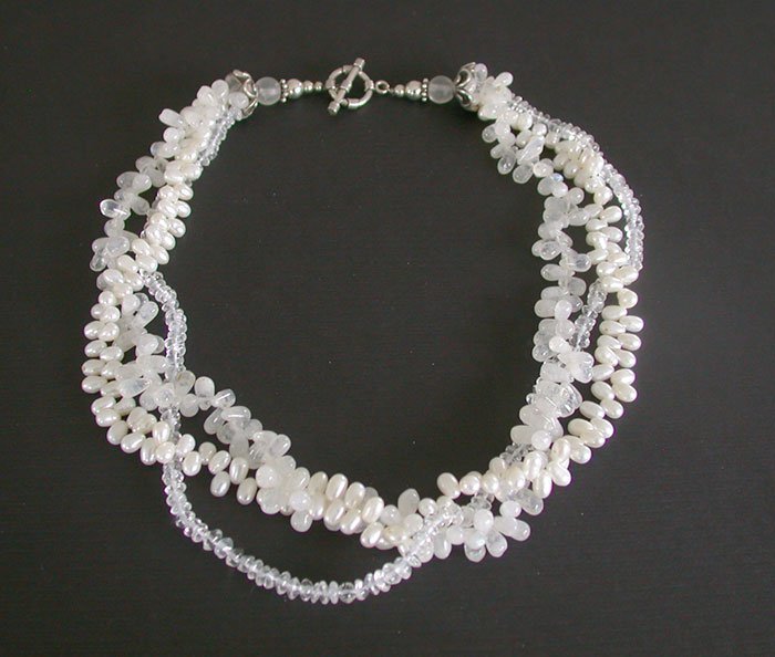 Amy Kahn Russell: Freshwater Pearl, Mother of Pearl & Crystal Necklace | Rendezvous Gallery