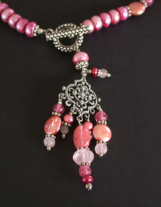 Amy Kahn Russell: Freshwater Pearl, Rhodocrosite & Pink Quartz Necklace | Rendezvous Gallery