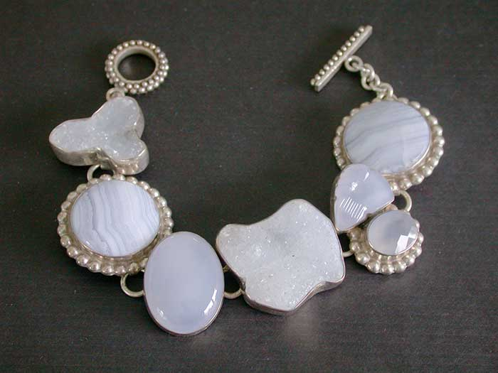 Amy Kahn Russell: Blue Lace Agate, Chalcedony & Drusy Bracelet | Rendezvous Gallery