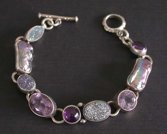 Amy Kahn Russell: Amethyst, Freshwater Pearl & Drusy Bracelet | Rendezvous Gallery