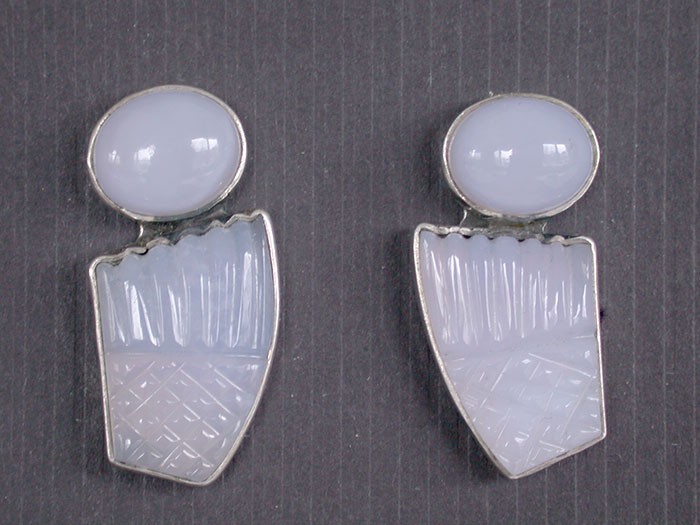 Amy Kahn Russell: Chalcedony Clip Earrings | Rendezvous Gallery