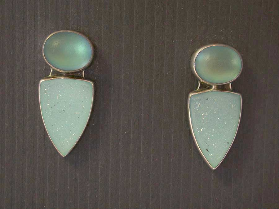 Amy Kahn Russell: Moonstone & Drusy Post Earrings Earrings | Rendezvous Gallery