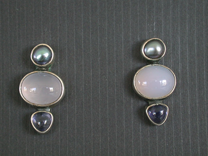 Amy Kahn Russell: Freshwater Pearl & Chalcedony Post Earrings | Rendezvous Gallery