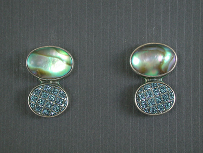 Amy Kahn Russell: Abalone & Drusy Post Earrings | Rendezvous Gallery