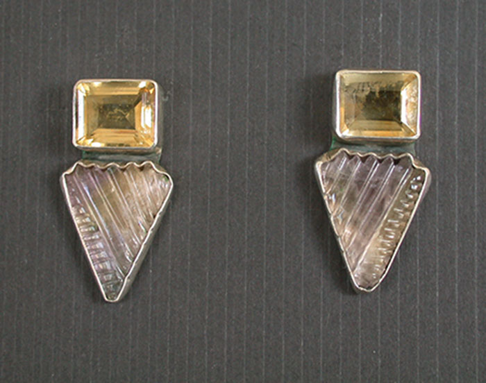 Amy Kahn Russell: Citrine & Ametrine Post Earrings | Rendezvous Gallery