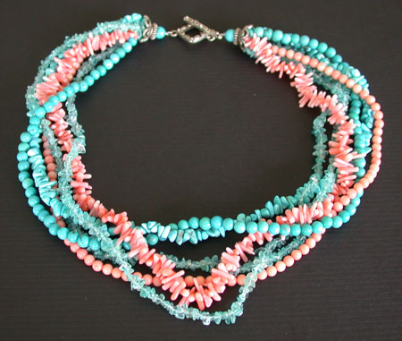 Amy Kahn Russell: Coral, Turquoise & Apatite Necklace | Rendezvous Gallery