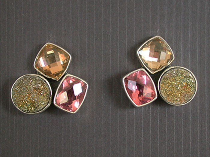 Amy Kahn Russell: Celestial Crystal & Brazilian Agate Drusy Post Earrings | Rendezvous Gallery