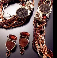 Amy Kahn Russell garnet necklace, bracelet and earrings