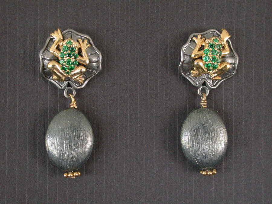 Amy Kahn Russell Online Trunk Show: Tsavorite, Gold Vermeil & Rhodium Over Sterling Silver Earrings  | Rendezvous Gallery