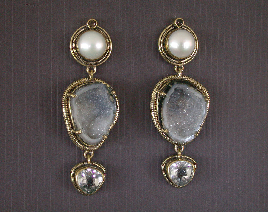 Amy Kahn Russell Online Trunk Show: Freshwater Pearl, Natural Geode & Crystal Post Earrings | Rendezvous Gallery