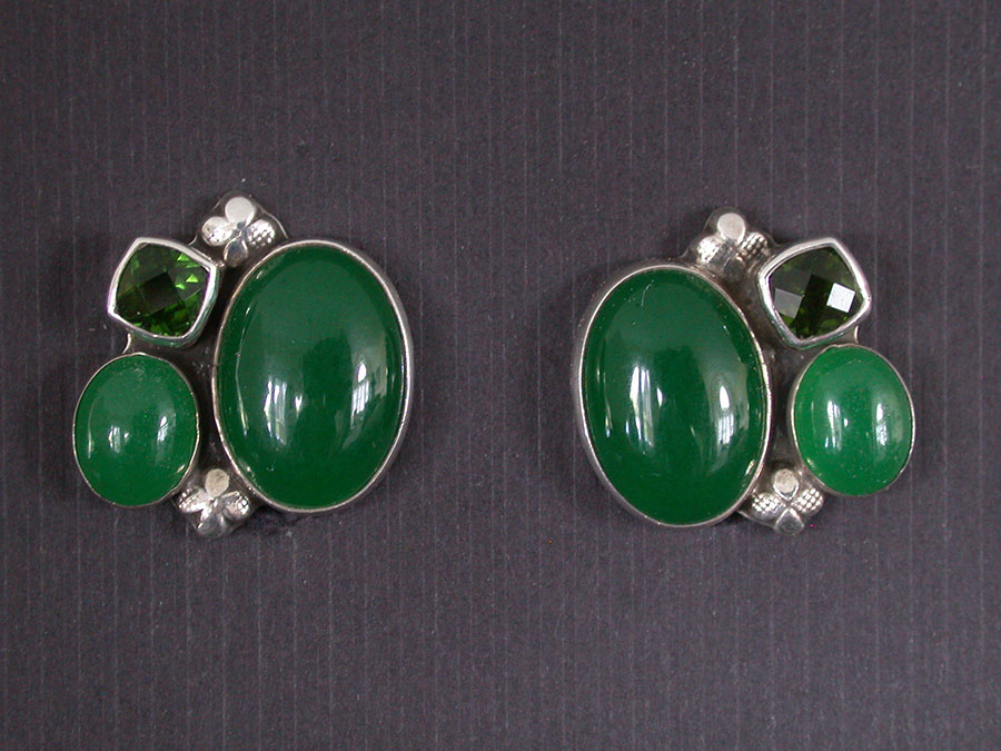 Amy Kahn Russell Online Trunk Show: Celestial Quartz & Green Quartz Clip Earrings | Rendezvous Gallery